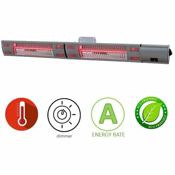 תנור חימום אינפרא אדום 3000W כסוף תליה Asystem 3046