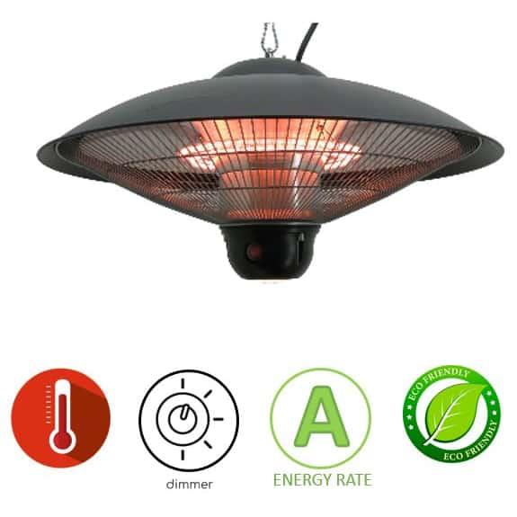 תנור חימום אינפרא אדום 1800W שחור תליה Asystem 2125